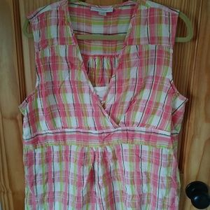 Sleeveless cotton blouse w/insert